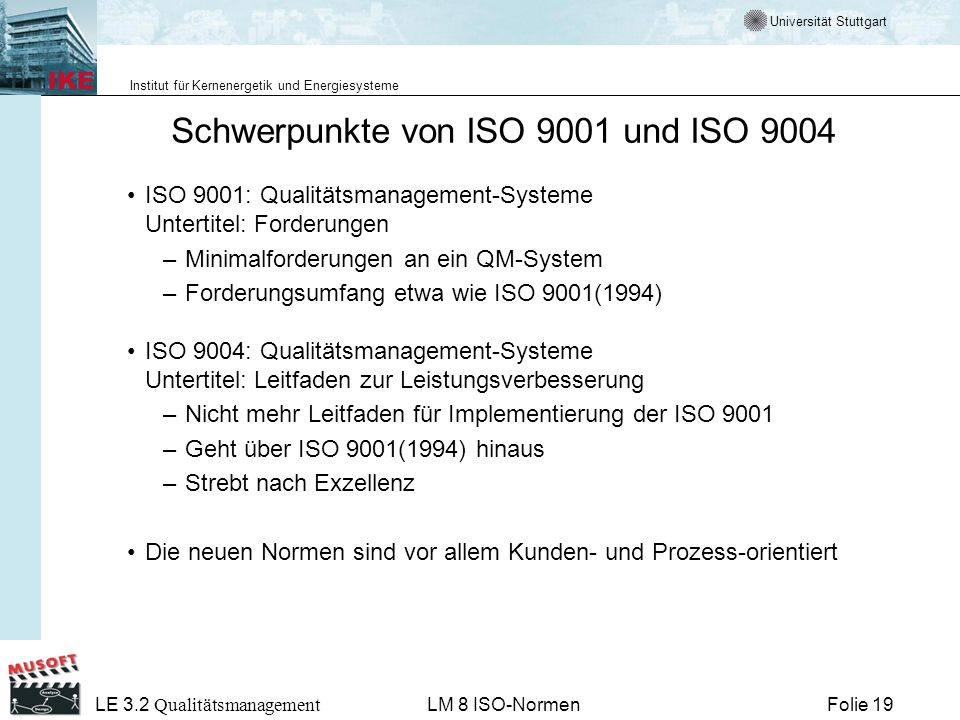 Schwerpunkte von ISO 9001 und ISO 9004