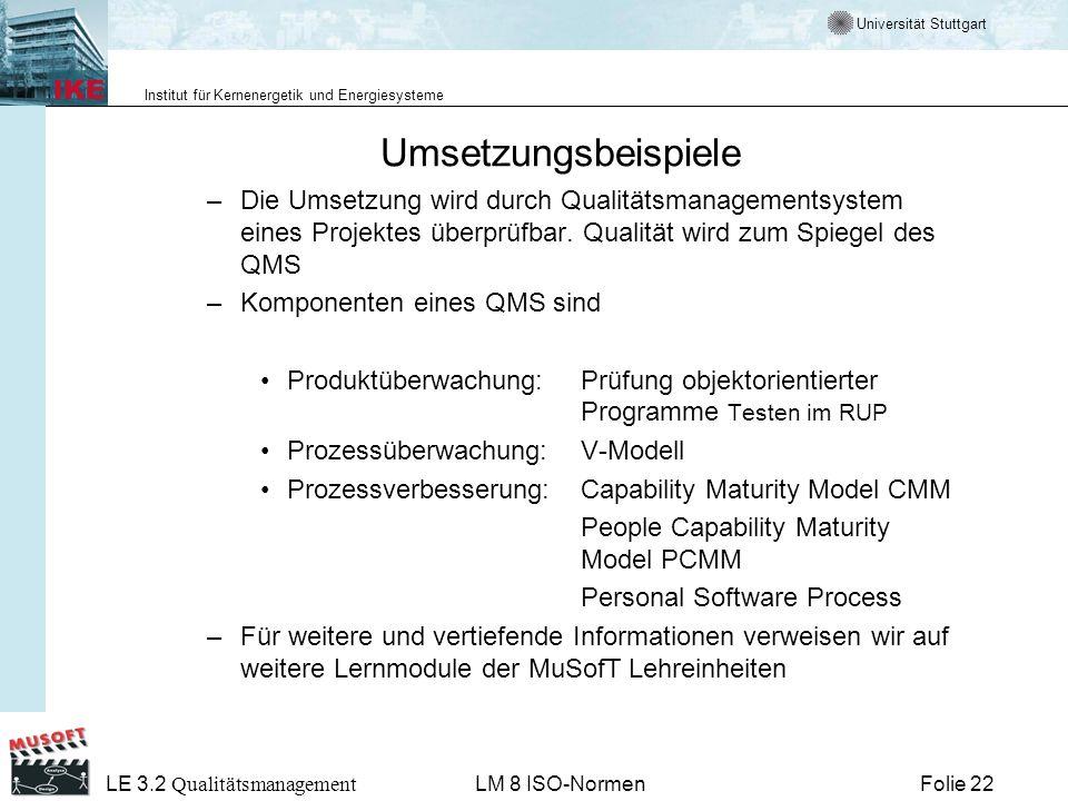 UmsetzungsbeispieleDie Umsetzung wird durch Qualitätsmanagementsystem eines Projektes überprüfbar. Qualität wird zum Spiegel des QMS.