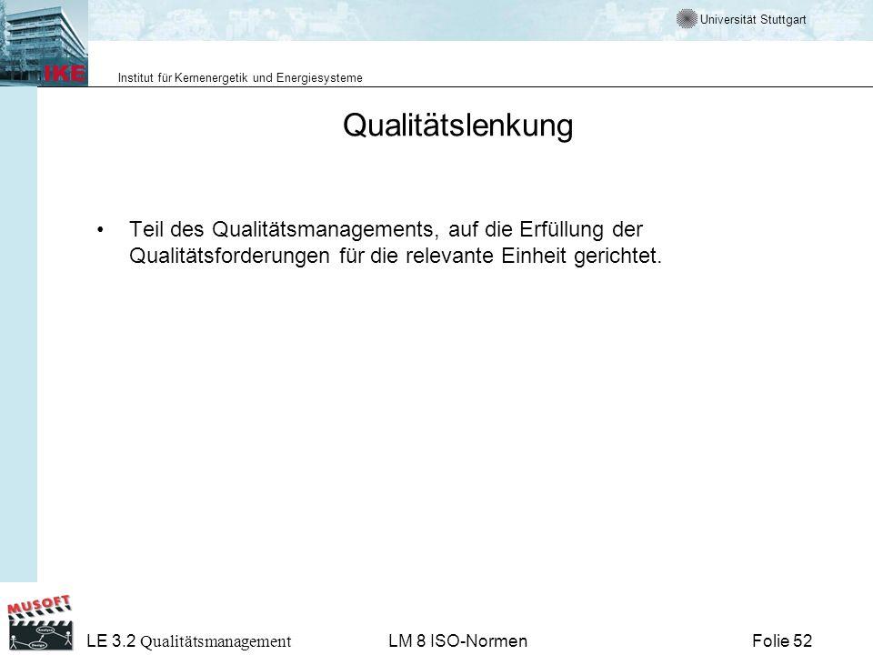 Qualitätslenkung Teil des Qualitätsmanagements, auf die Erfüllung der Qualitätsforderungen für die relevante Einheit gerichtet.