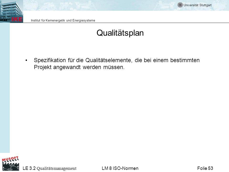 Qualitätsplan Spezifikation für die Qualitätselemente, die bei einem bestimmten Projekt angewandt werden müssen.
