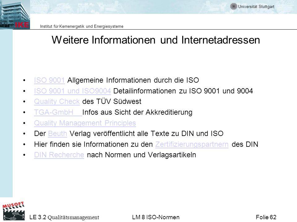 Weitere Informationen und Internetadressen