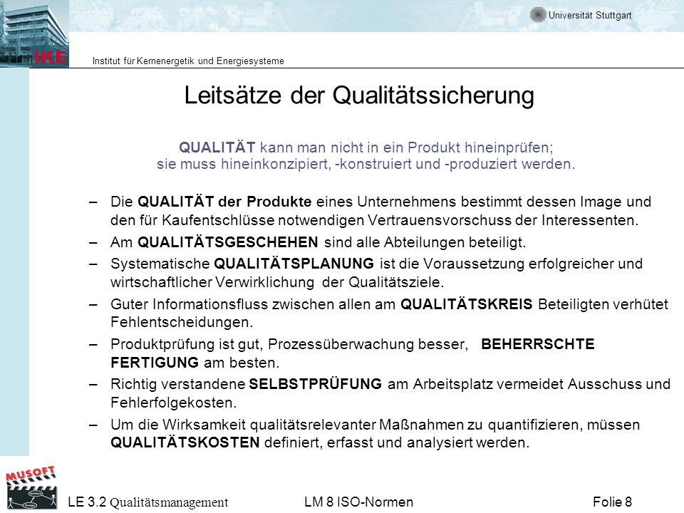 Leitsätze der Qualitätssicherung