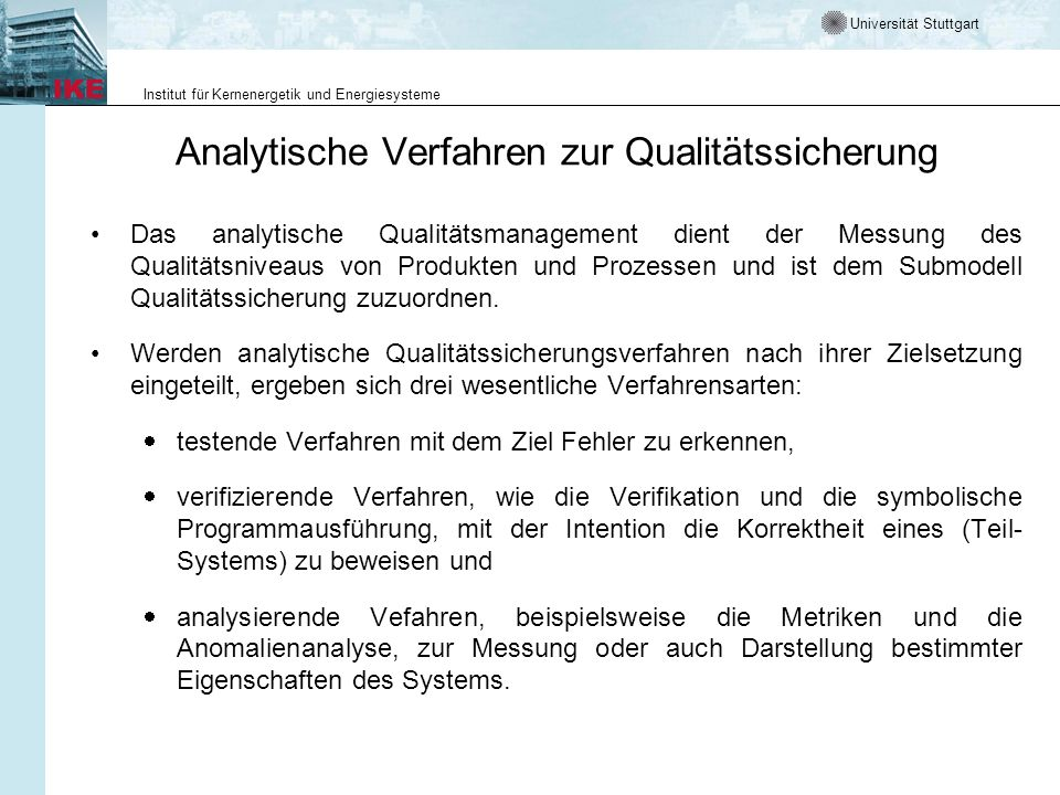 Analytische Verfahren zur Qualitätssicherung