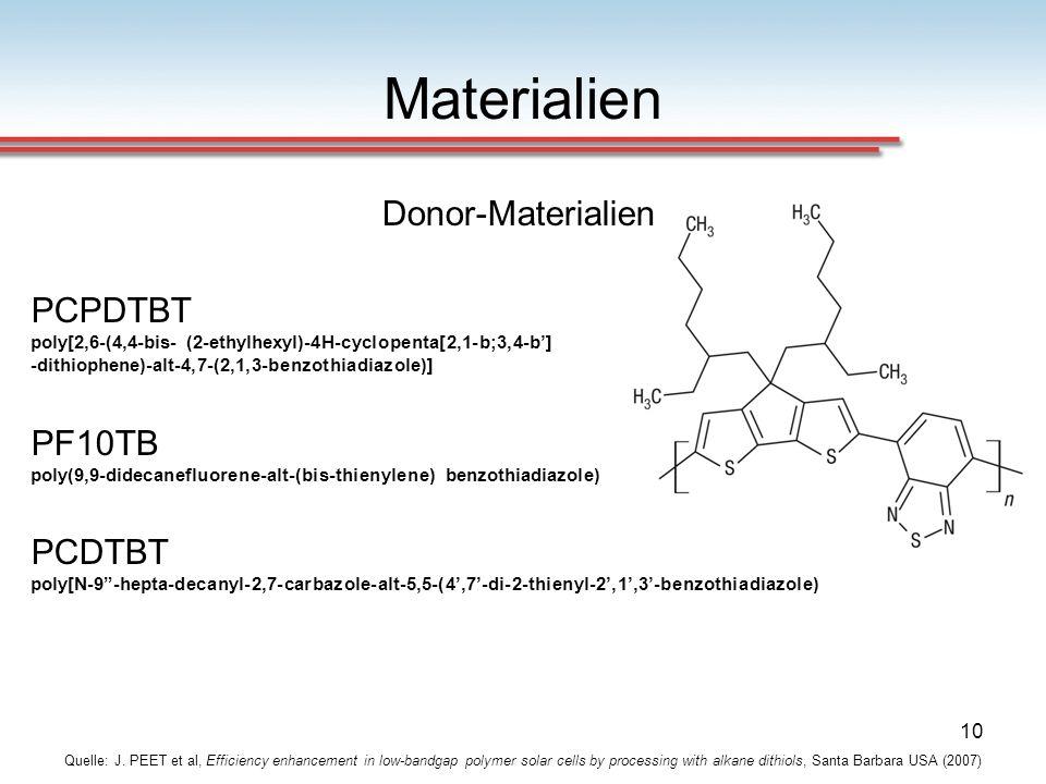 Materialien Donor-Materialien PCPDTBT PF10TB PCDTBT