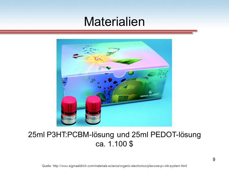 25ml P3HT:PCBM-lösung und 25ml PEDOT-lösung