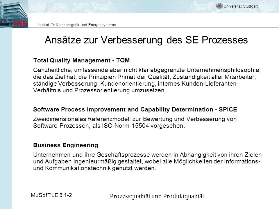 Ansätze zur Verbesserung des SE Prozesses