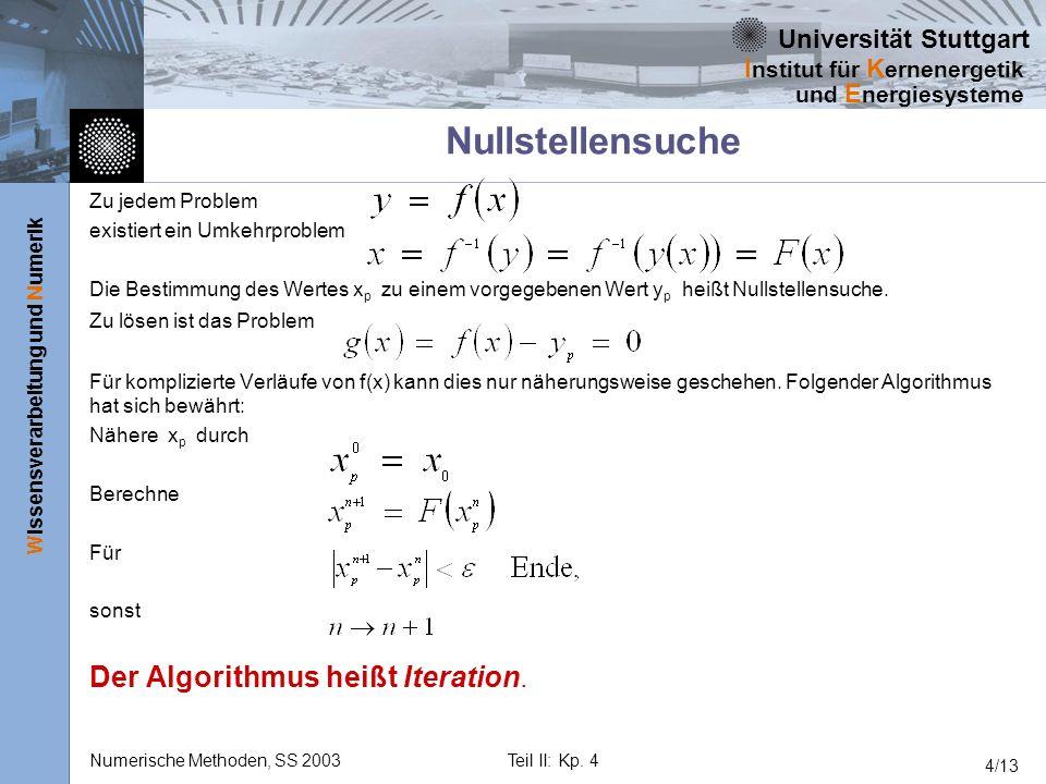 Nullstellensuche Der Algorithmus heißt Iteration. Zu jedem Problem