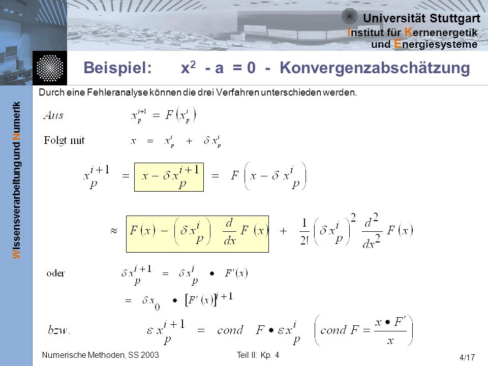 Beispiel: x2 - a = 0 - Konvergenzabschätzung