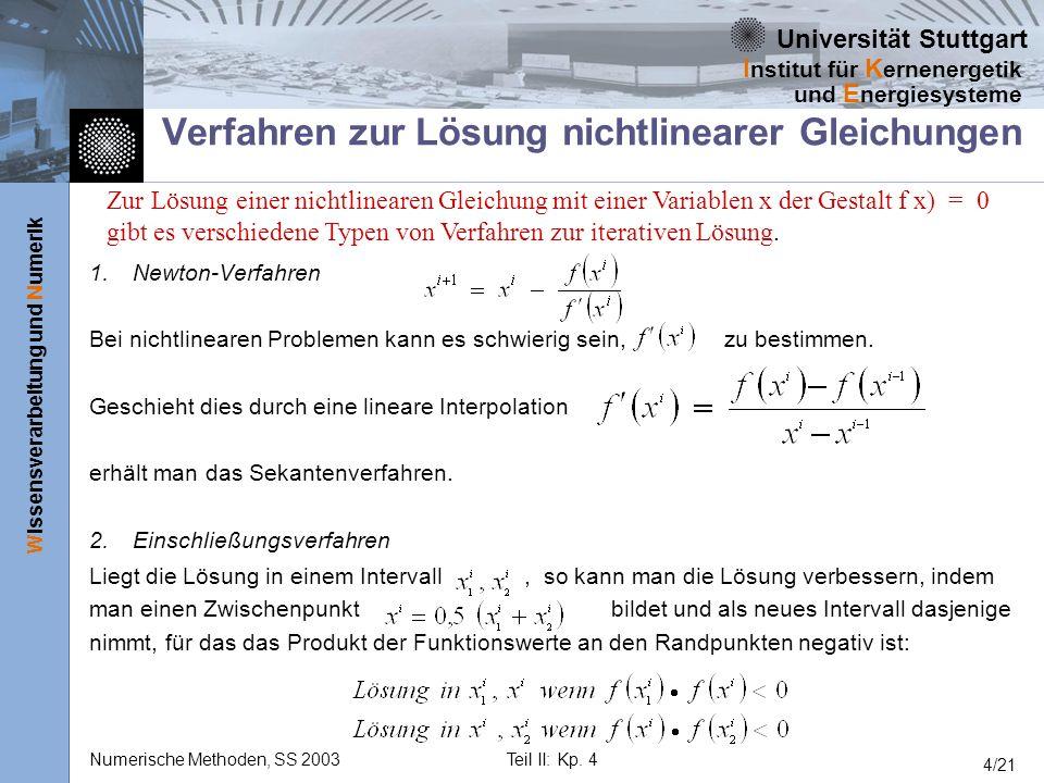 Verfahren zur Lösung nichtlinearer Gleichungen
