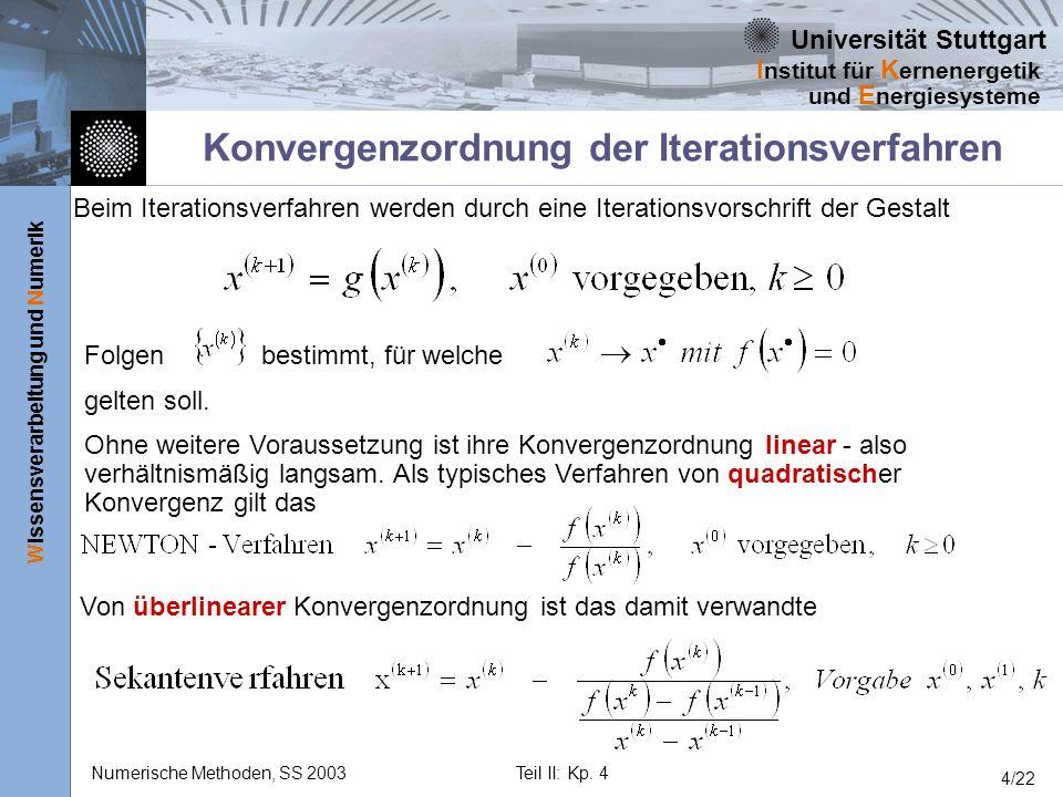 Konvergenzordnung der Iterationsverfahren