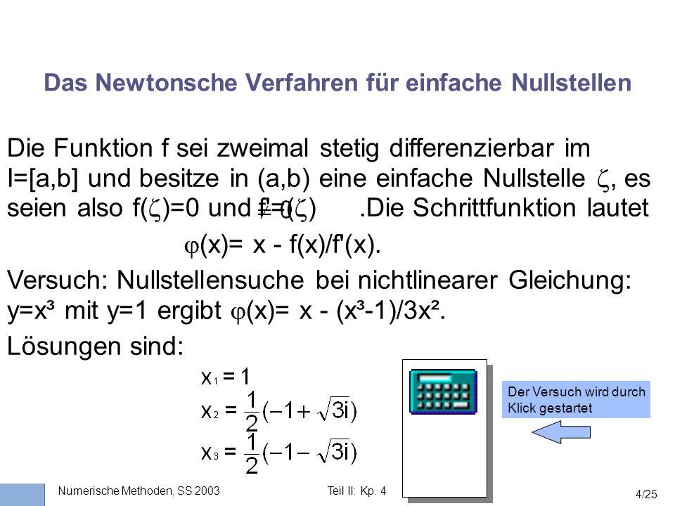 Das Newtonsche Verfahren für einfache Nullstellen