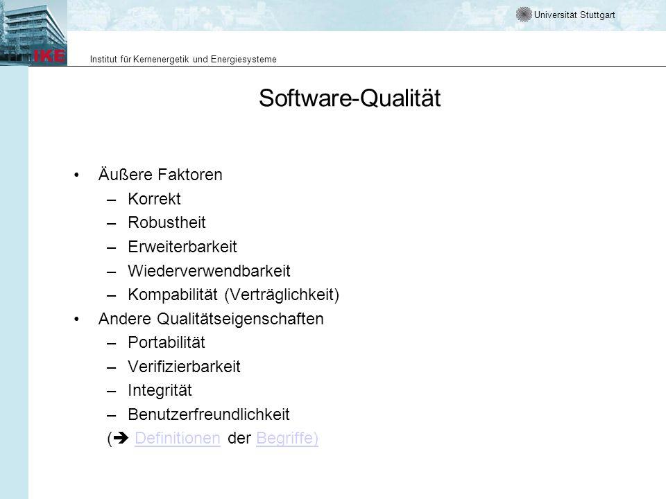 Software-Qualität Äußere Faktoren Korrekt Robustheit Erweiterbarkeit
