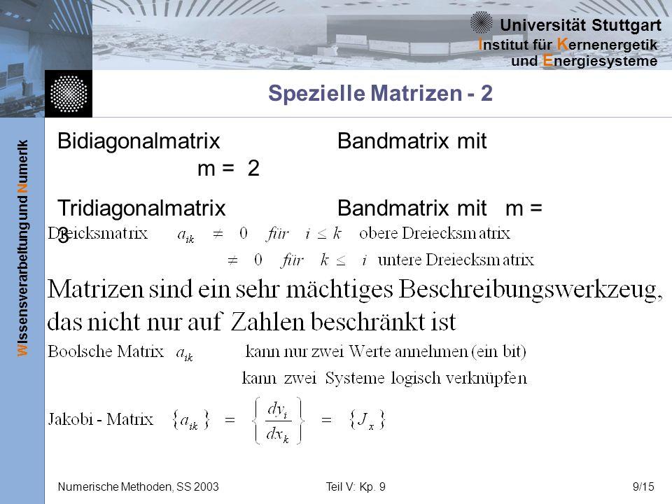Spezielle Matrizen - 2 Bidiagonalmatrix Bandmatrix mit m = 2.