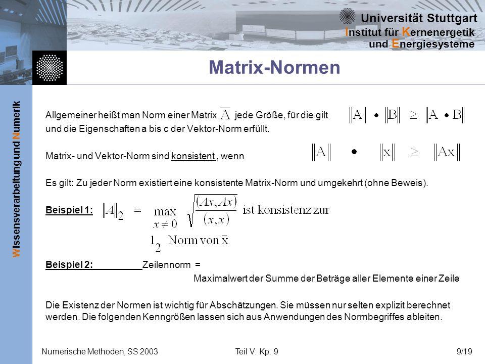 Matrix-Normen Allgemeiner heißt man Norm einer Matrix jede Größe, für die gilt. und die Eigenschaften a bis c der Vektor-Norm erfüllt.