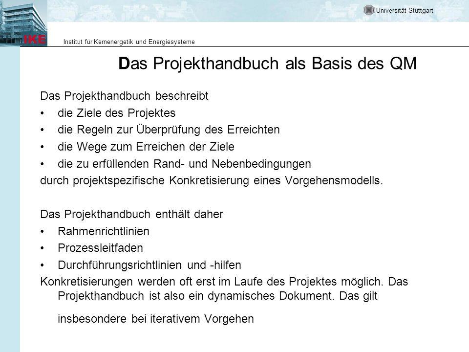 Das Projekthandbuch als Basis des QM
