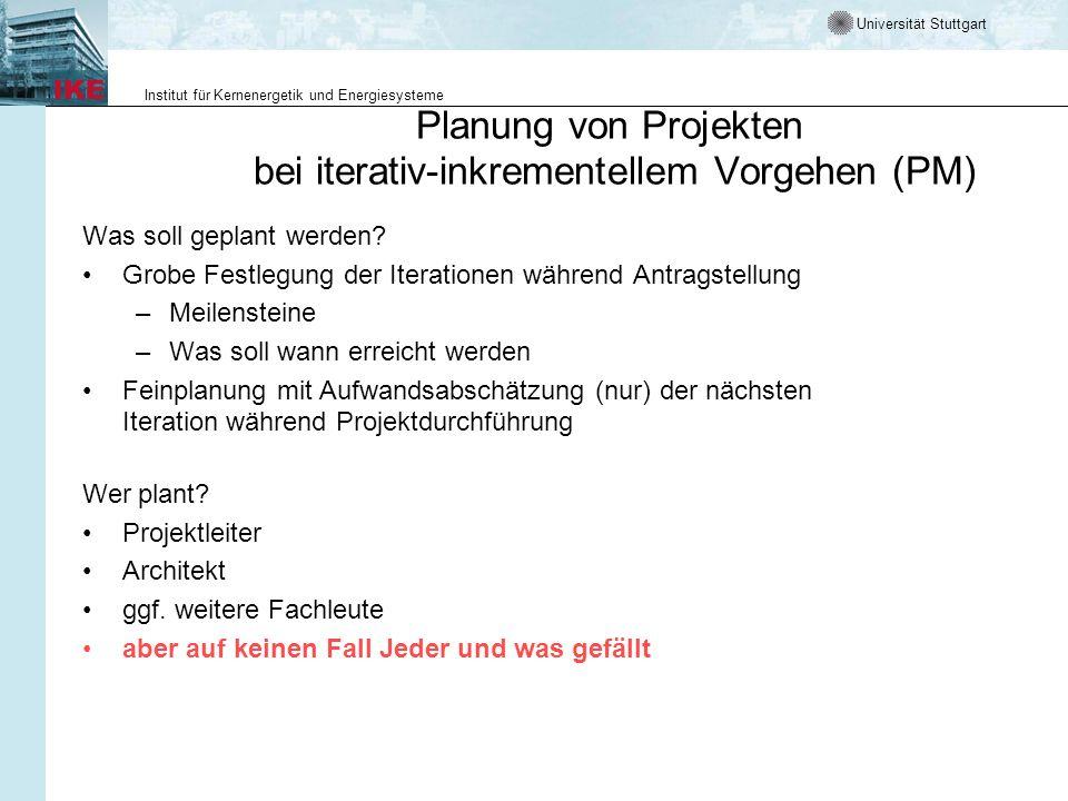 Planung von Projekten bei iterativ-inkrementellem Vorgehen (PM)