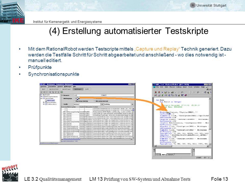 (4) Erstellung automatisierter Testskripte