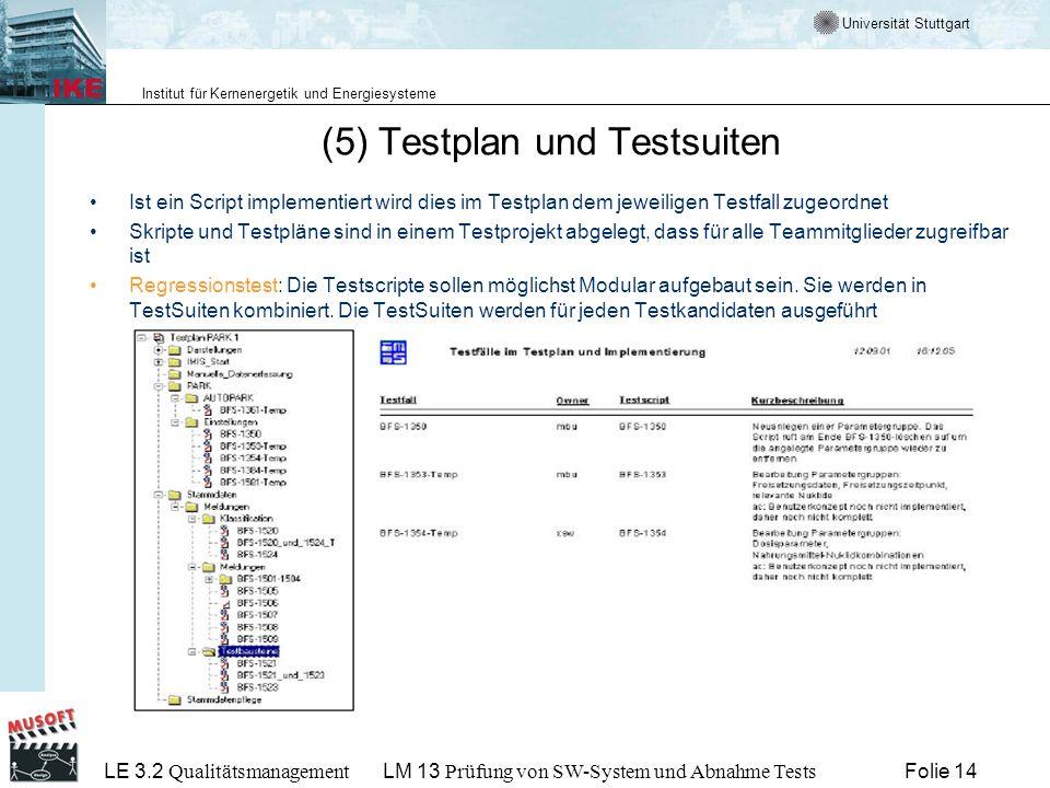 (5) Testplan und Testsuiten