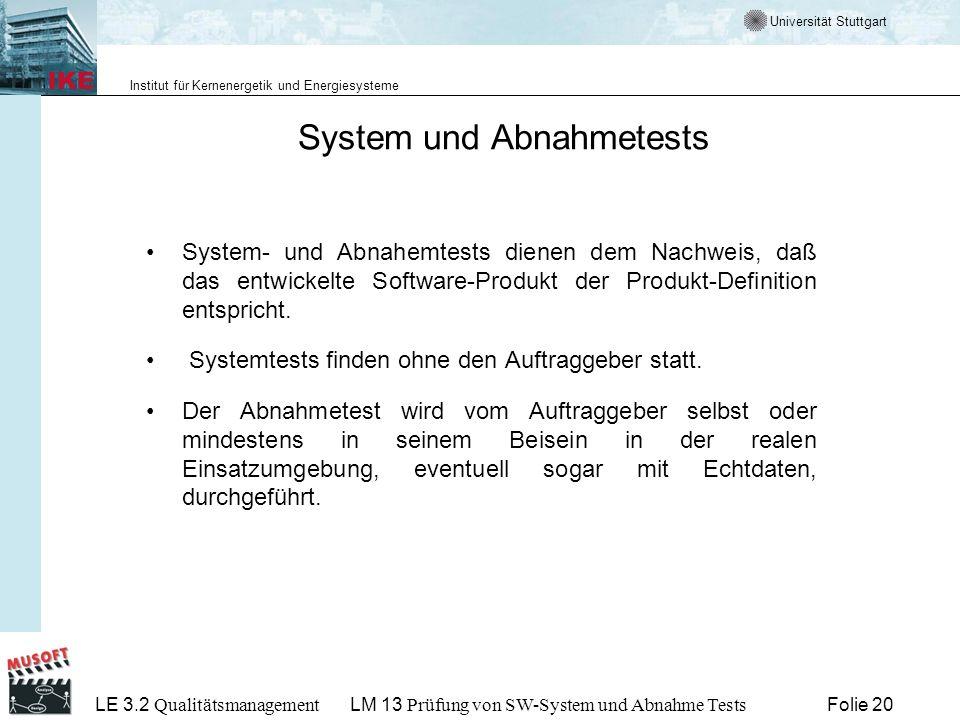 System und Abnahmetests