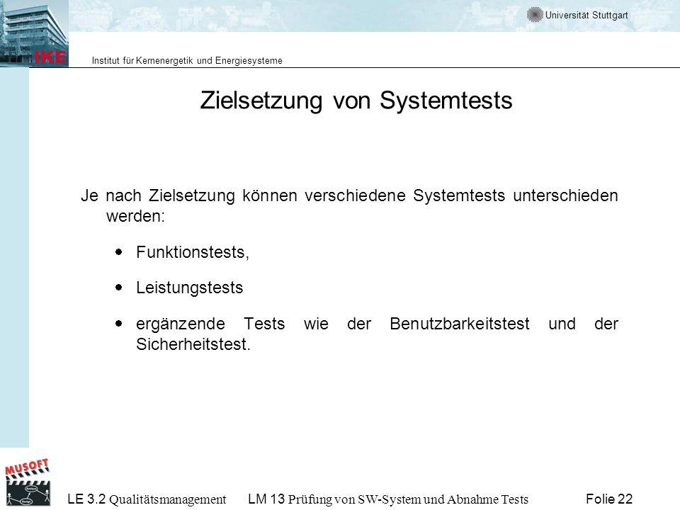 Zielsetzung von Systemtests