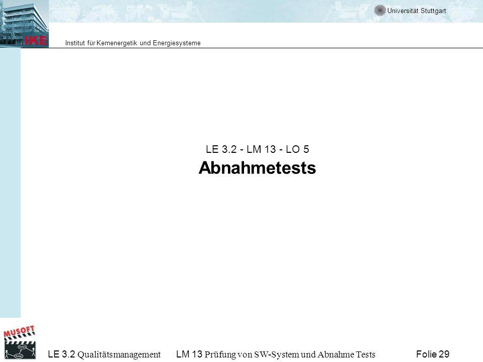 LE 3.2 - LM 13 - LO 5 Abnahmetests