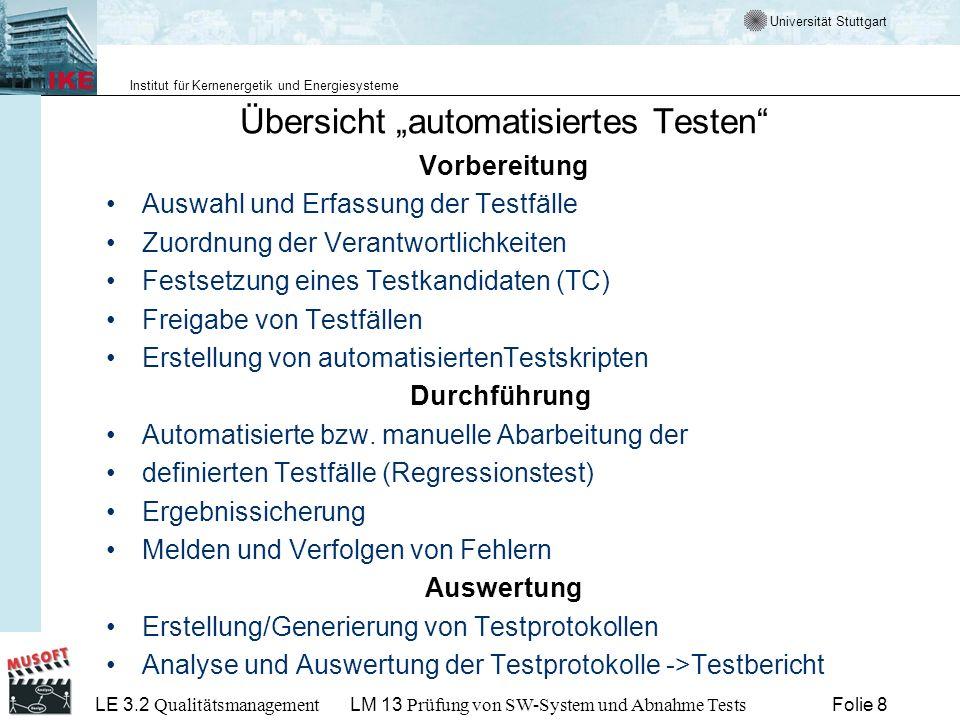 """Übersicht """"automatisiertes Testen"""