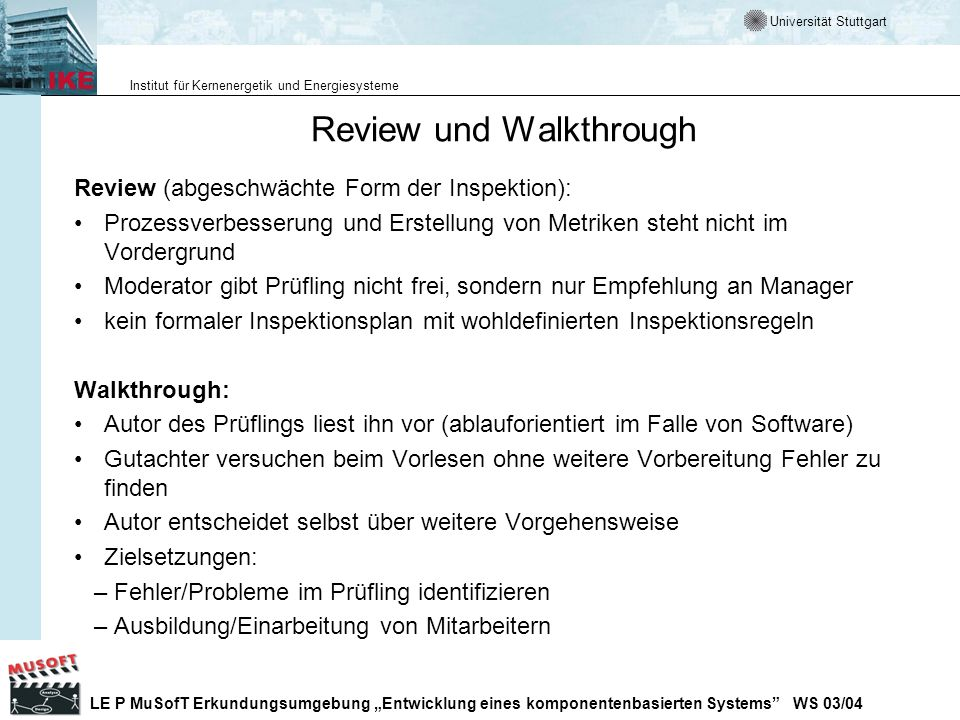 Review und Walkthrough