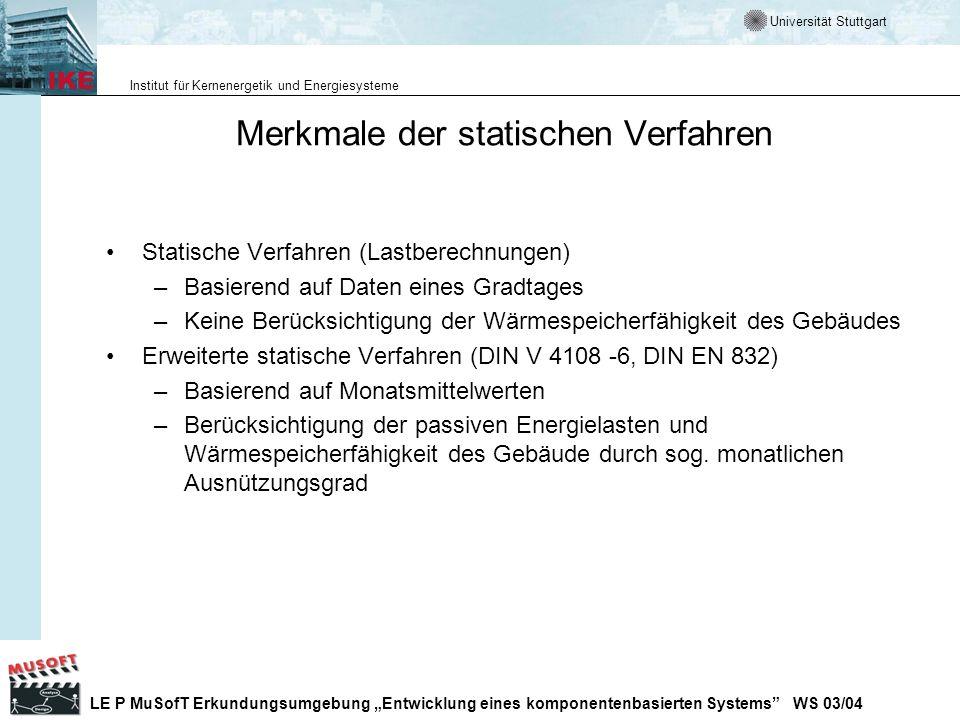 Merkmale der statischen Verfahren