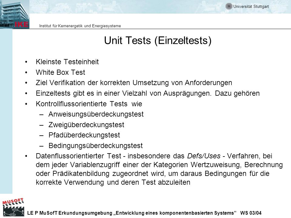 Unit Tests (Einzeltests)
