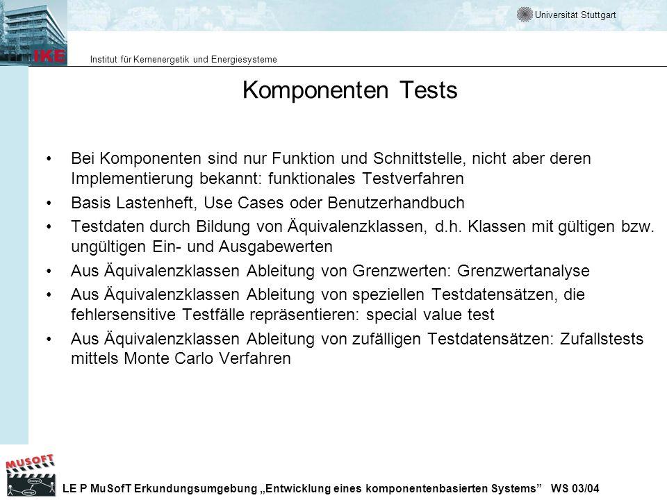 Komponenten TestsBei Komponenten sind nur Funktion und Schnittstelle, nicht aber deren Implementierung bekannt: funktionales Testverfahren.