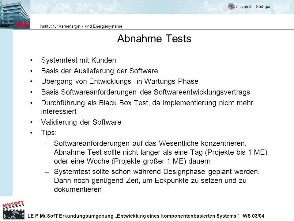 Abnahme Tests Systemtest mit Kunden