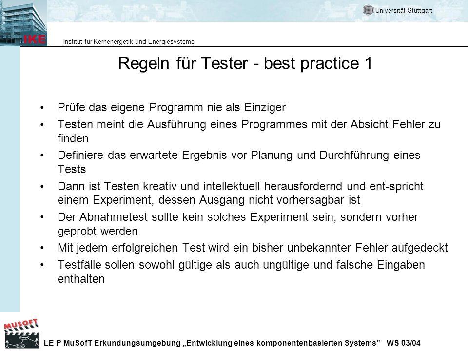 Regeln für Tester - best practice 1