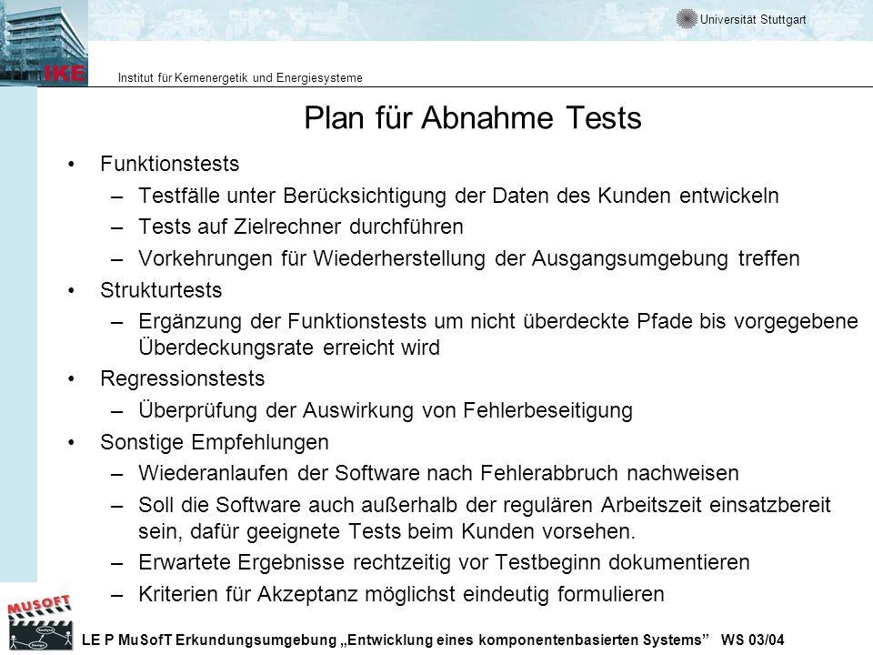 Plan für Abnahme Tests Funktionstests