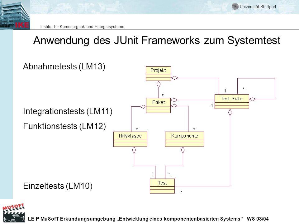 Anwendung des JUnit Frameworks zum Systemtest