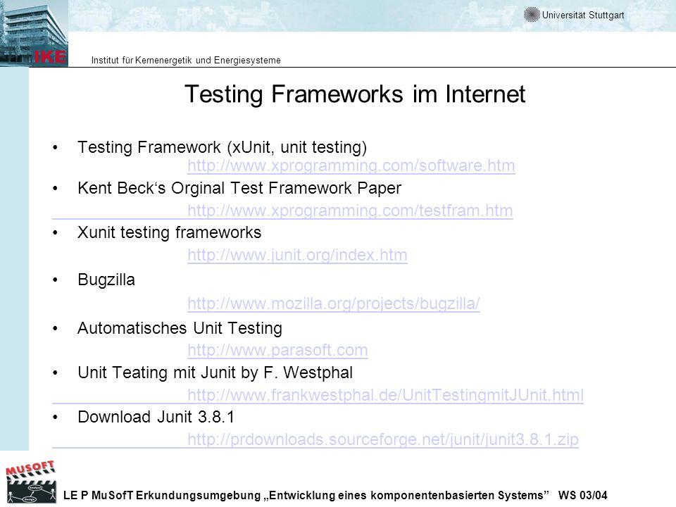 Testing Frameworks im Internet