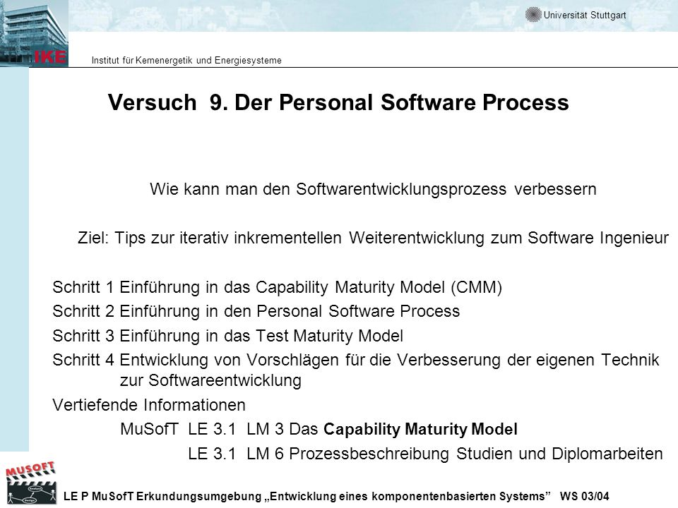 Versuch 9. Der Personal Software Process