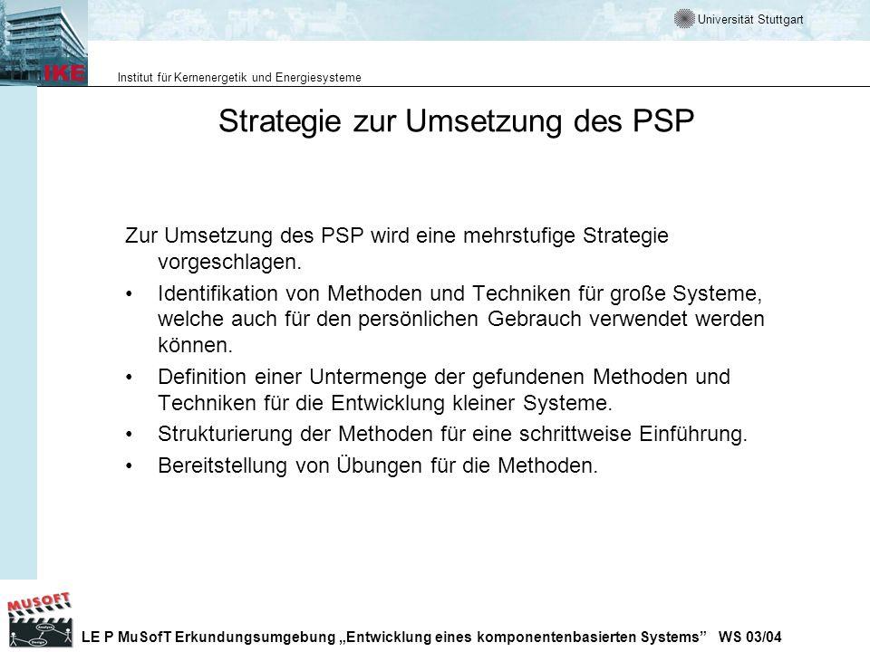 Strategie zur Umsetzung des PSP