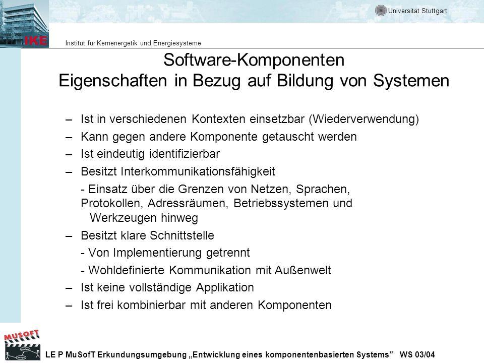 Software-Komponenten Eigenschaften in Bezug auf Bildung von Systemen