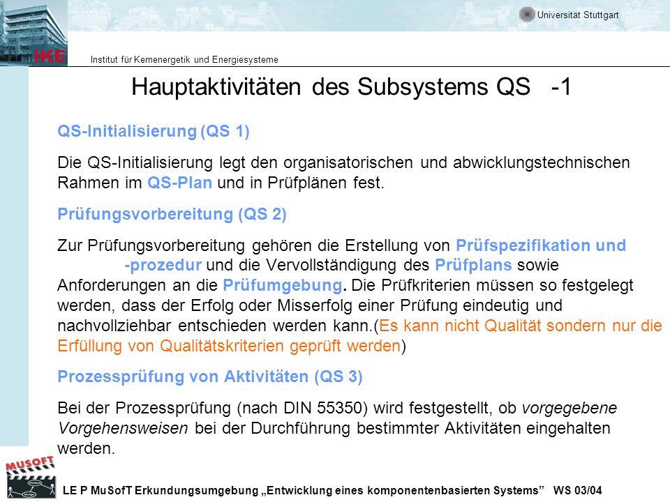 Hauptaktivitäten des Subsystems QS -1