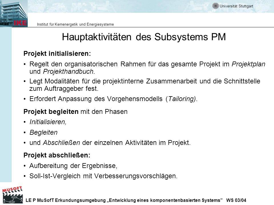 Hauptaktivitäten des Subsystems PM