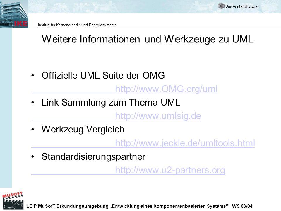 Weitere Informationen und Werkzeuge zu UML