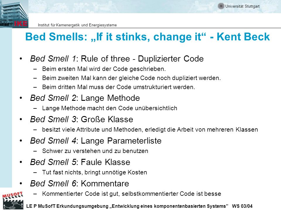 "Bed Smells: ""If it stinks, change it - Kent Beck"