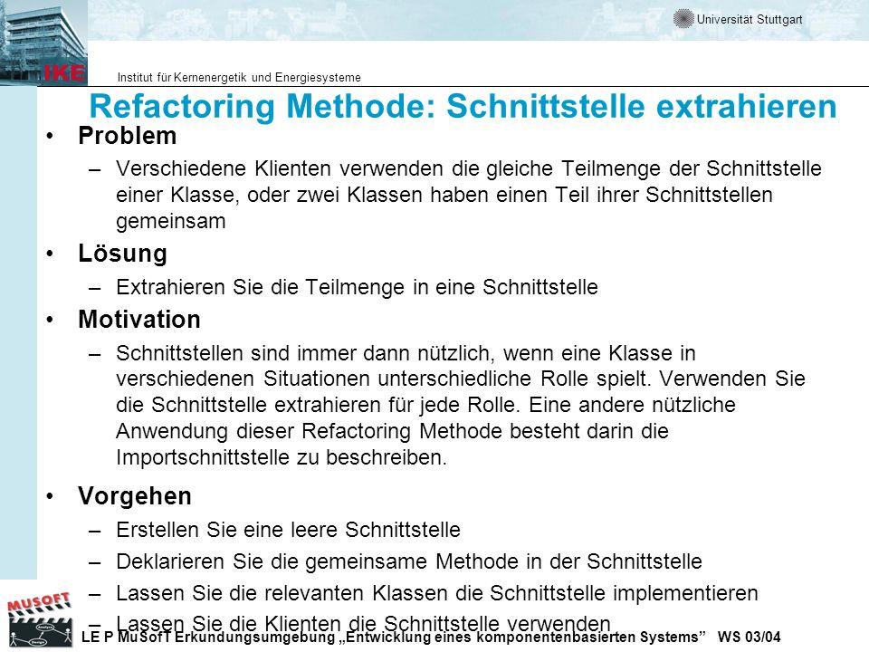 Refactoring Methode: Schnittstelle extrahieren