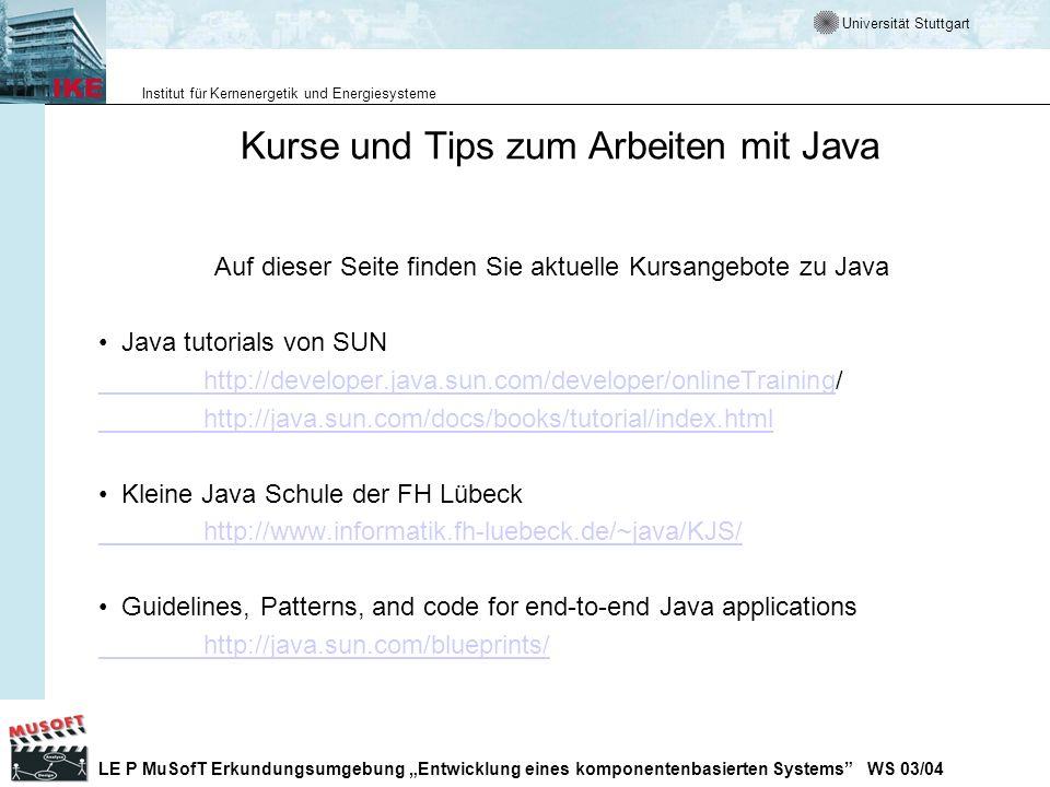 Kurse und Tips zum Arbeiten mit Java