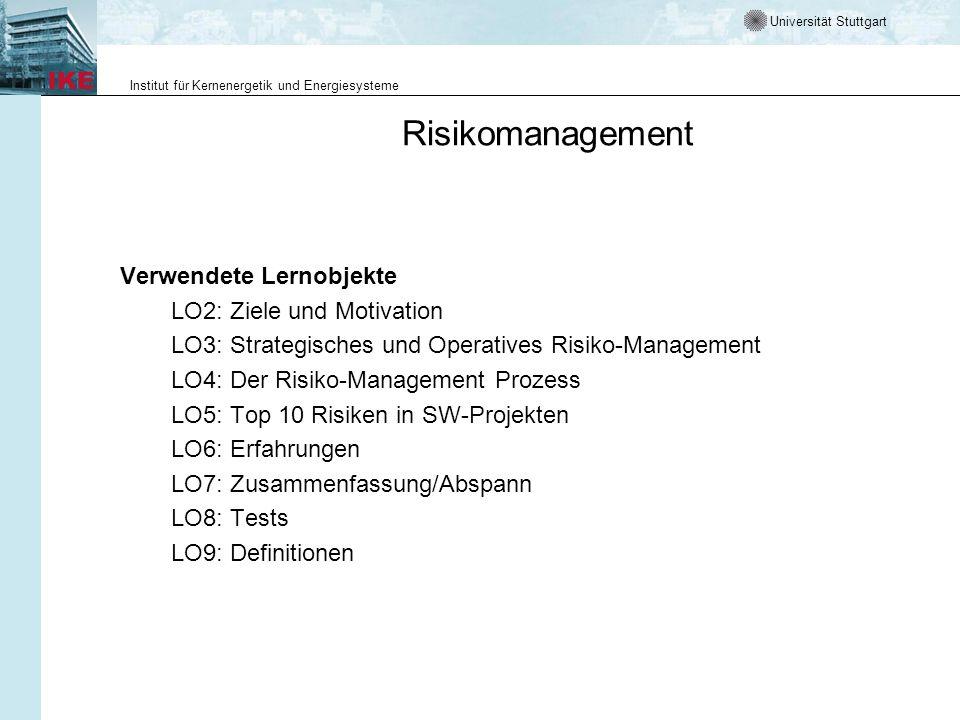 Risikomanagement Verwendete Lernobjekte LO2: Ziele und Motivation