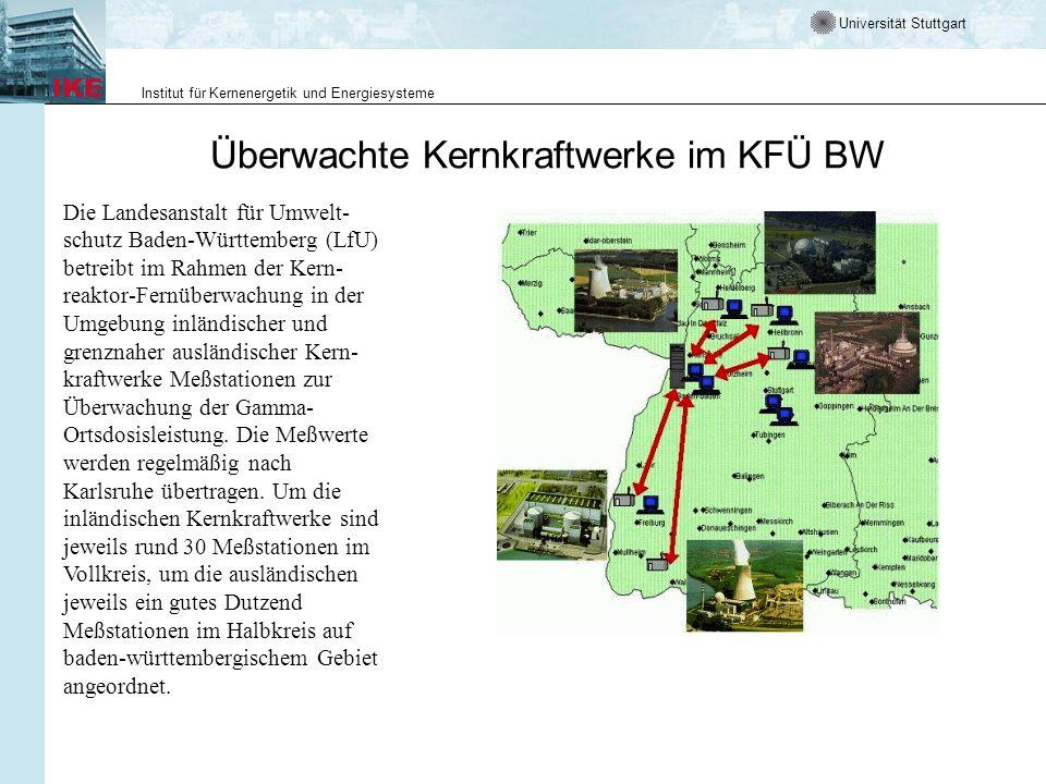 Überwachte Kernkraftwerke im KFÜ BW