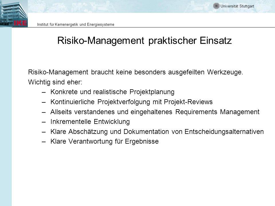 Risiko-Management praktischer Einsatz