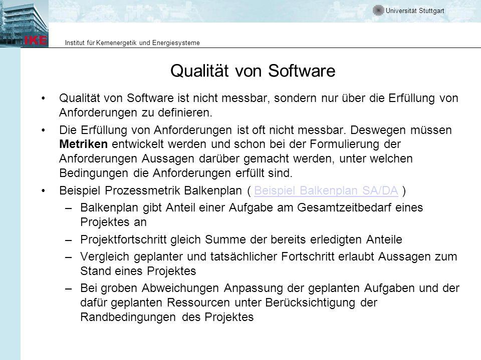 Qualität von Software Qualität von Software ist nicht messbar, sondern nur über die Erfüllung von Anforderungen zu definieren.