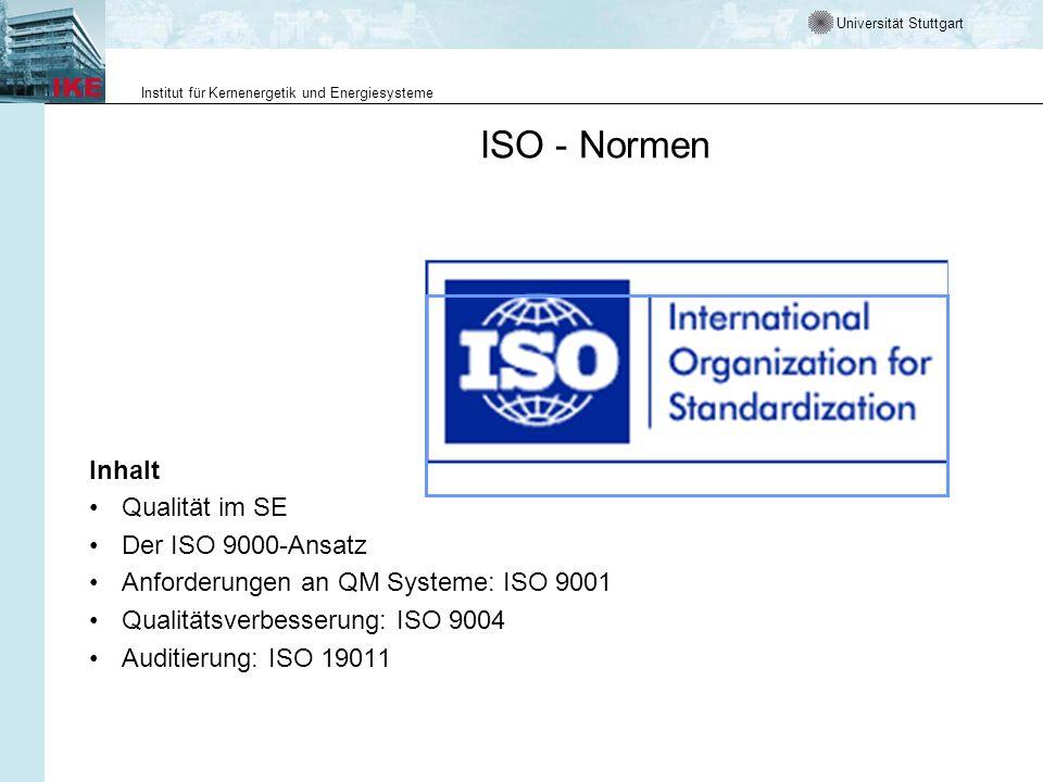 ISO - Normen Inhalt Qualität im SE Der ISO 9000-Ansatz