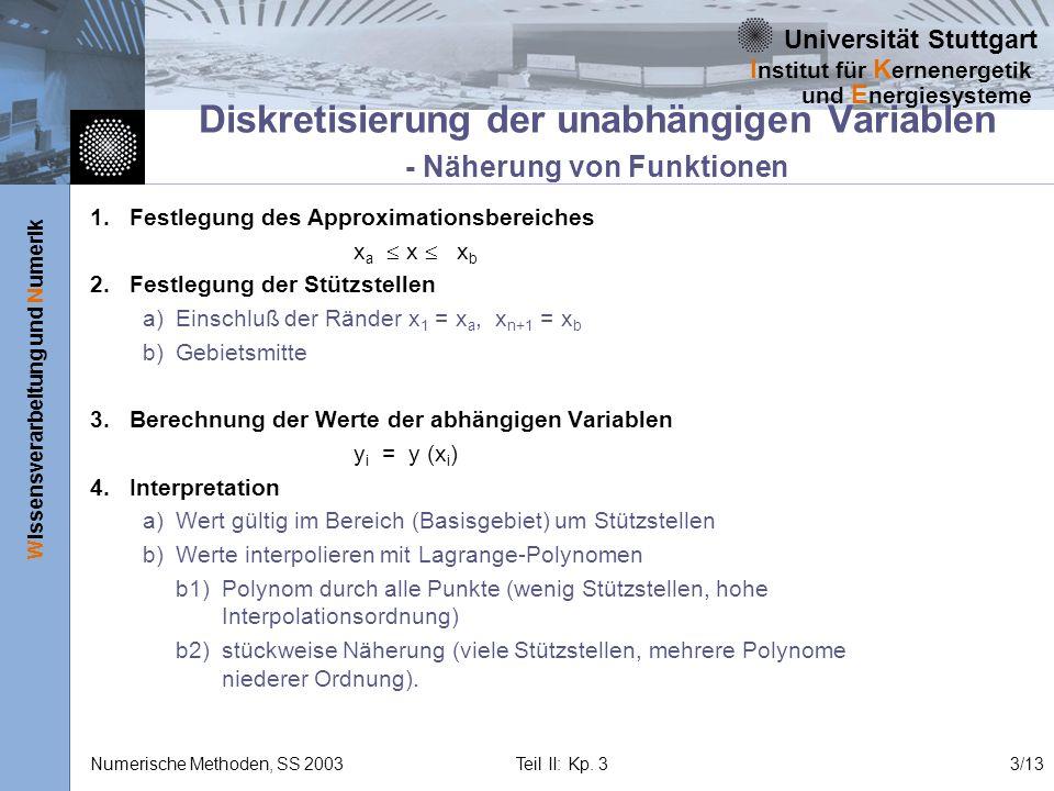 Diskretisierung der unabhängigen Variablen - Näherung von Funktionen